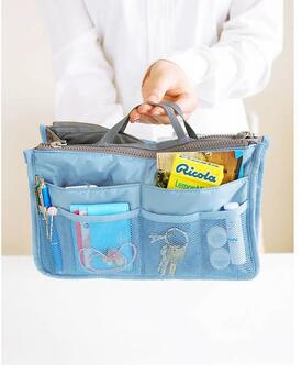 Dual Zipper 12 Pockets Makeup Cable Organizer Bag For Travel