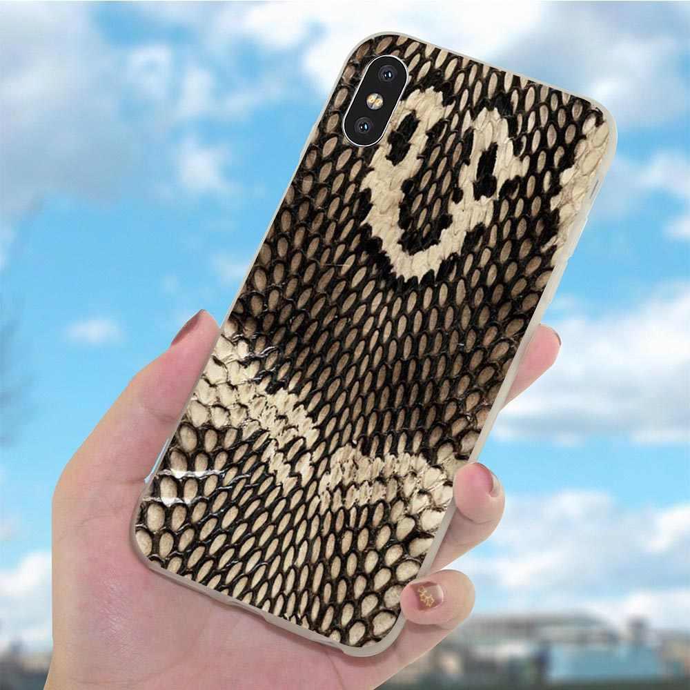 Cubierta suave del teléfono de la serpiente del cuero del TPU para la funda del iPhone 8 para las fundas del iPhone 6 Plus 7 8 Plus 5X6 6S 5S SE Xs Max XR de silicona