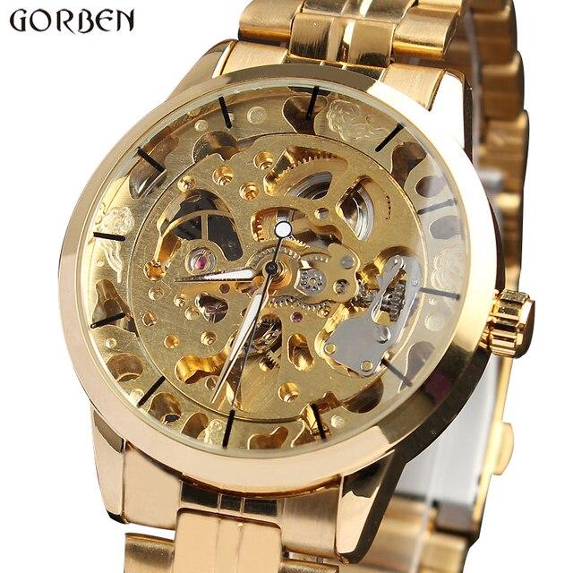 Montre bracelet à vent automatique, Style luxueux, unisexe, en acier inoxydable, squelette, cadeau horaire, M103, pour hommes et femmes