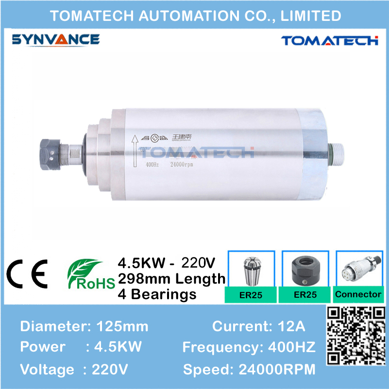 AC220V and AC380V 4 5kw water cooling carving spindle motor for CNC woodworking machine
