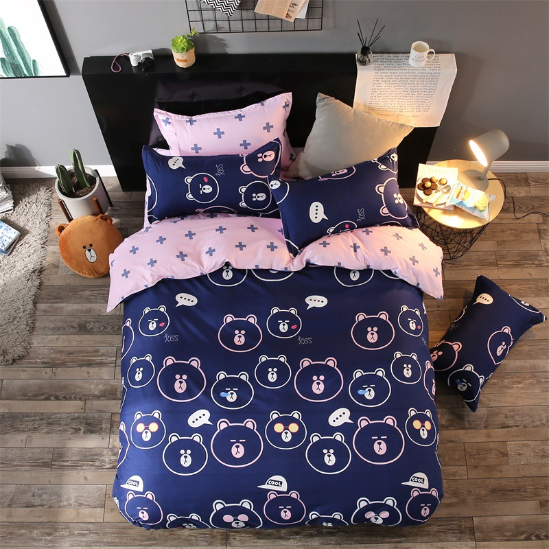 Cartoon Funny Variety Expressions Bear Children Kids 3pcs/4pcs Bedding Sets Contain Bed Sheet Pillowcase Bedclothes Duvet Cover