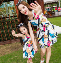 Parent child outfit sundress and han edition dress and skirt fashion dresses of the girls
