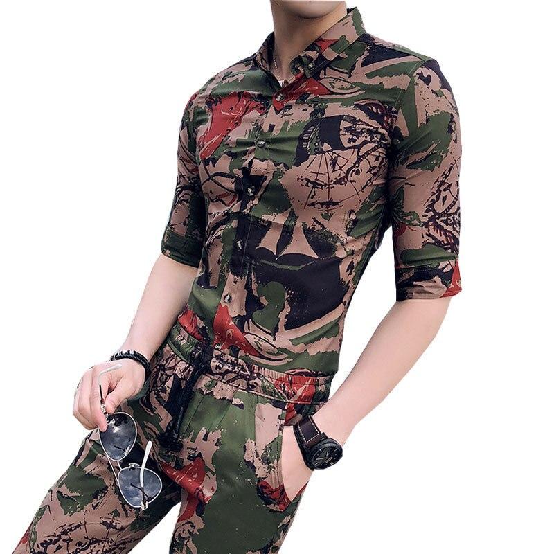 Camoflage été hommes ensemble deux pièces Buisnes décontracté Chemise + Court pantalon ensemble Chemise Homme Manche Court Trainingspak Mannen