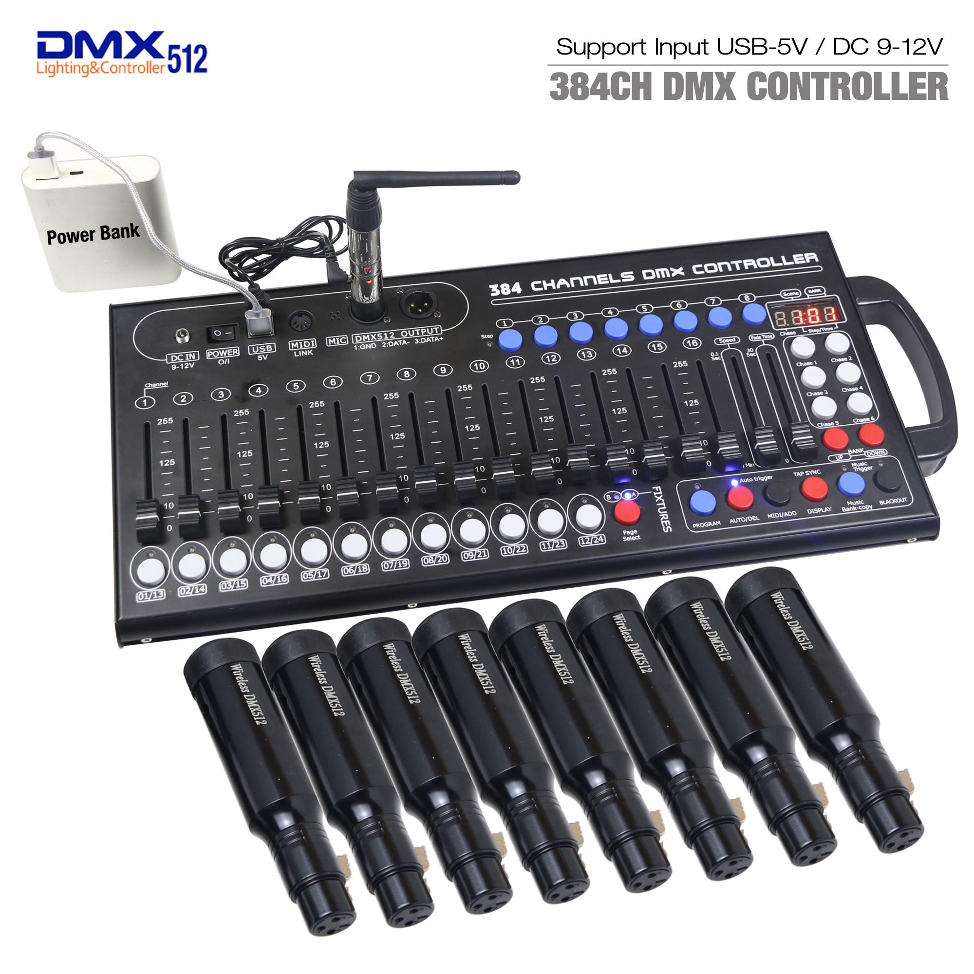 New Ultra-thin 384ch DMX LED Controller Stage Lighting Controller Moving Head Console For DJ KTV Move RGB Lamp