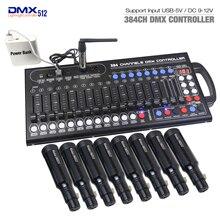 Novo ultra fino 384ch dmx led controlador de iluminação de palco cabeça em movimento console para dj ktv mover rgb lâmpada