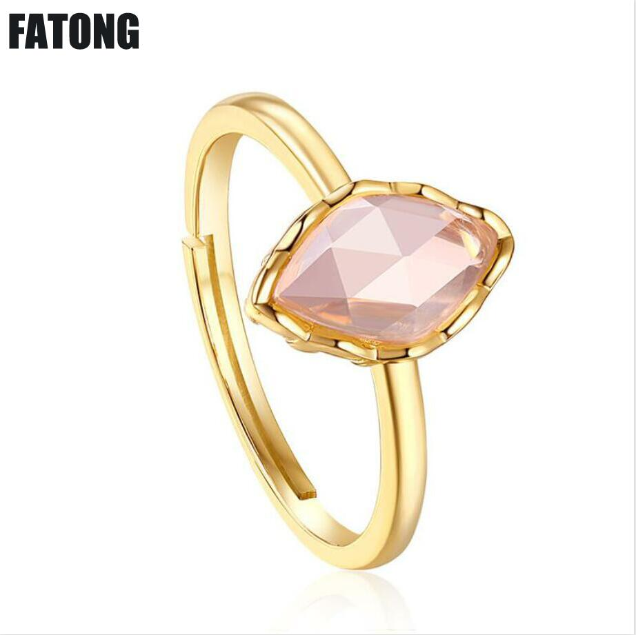 Women J0118 Suitable For Men Precise 925 Sterling Silver Powder Crystal Blue Topaz Garnet Student Personality Cold And Trendy People Ring Female Silver And Children
