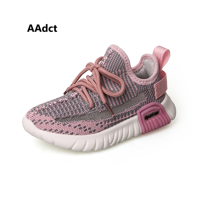 AAdct 2019 spring mesh kids shoes sneakers running sports girls shoes breathable knitting casual children shoes