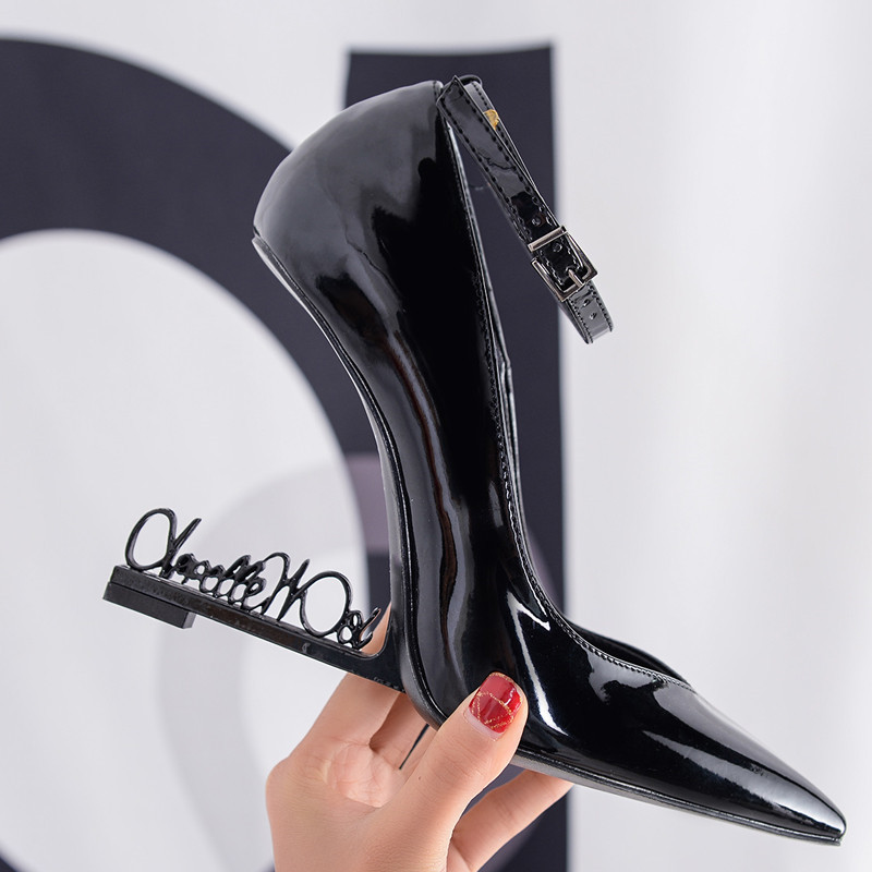 Ystergal โลหะตัวอักษรส้นปั๊มสิทธิบัตรหนัง 10CM รองเท้าส้นสูง Mary Jane สีดำชุดแต่งงานรองเท้าผู้หญิง Stiletto-ใน รองเท้าส้นสูงสตรี จาก รองเท้า บน   3
