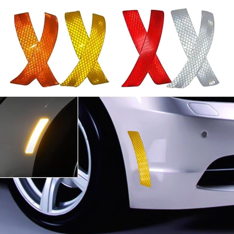 1 Pair Reflective Safety Warning Strip Tape Car Bumper Reflector Sticker Decal