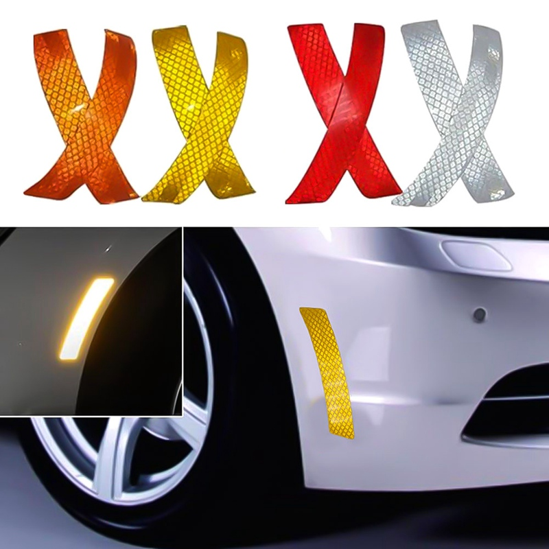 цены 2Pcs/Lot Car Bumper Reflective Warning Strip Decal Stickers Auto Accessory Reflector Stickers Decals Car Styling