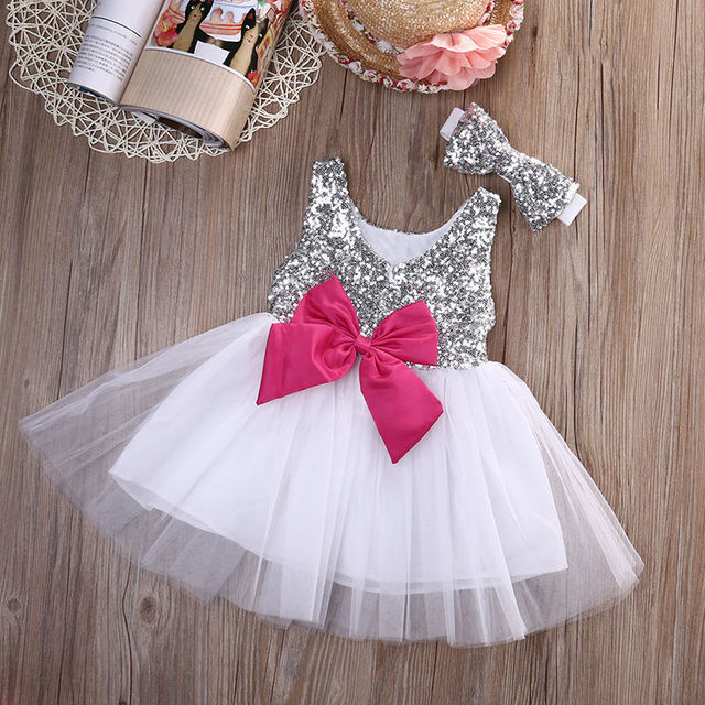 Us 5 43 11 Off 0 4years Baby Girls Dress Bowknot Tulle Dress Wedding Gown Birthday Party Formal Princess Dresses Summer Baby Girls Clothes In