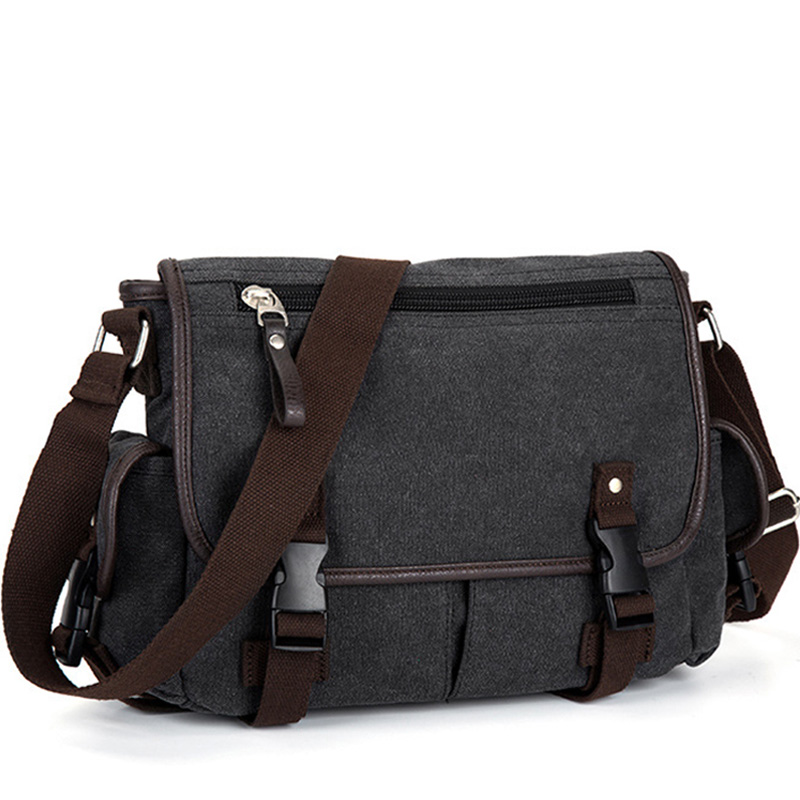 Vintage Men's Briefcases Shoulder Bag Travel Crossbody Bags Causal Canvas Messenger Bag Patchwork Multi-function Laptop XA237ZC