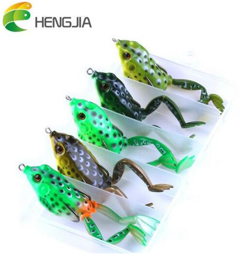 HENGJIA 5 pcs/set High Quality Frog Fishing Lures Snakehead Lure Target Frog Lure 55mm/15.5g Topwater Simulation Soft Bass Bait