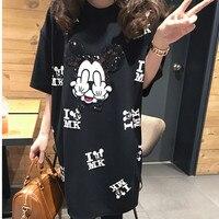 2019 Runway T shirt short sleeve casual mickey cartoon print women T shirt femme tops oversize black T shirt Cartoon t shirt