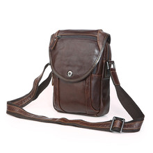 Coffee Color Vintage 100% Guarantee Real Skin Genuine Leather Cowhide Mini Men Messenger Bags #M7354