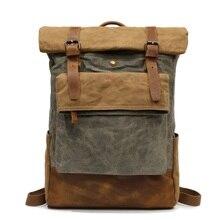 YUPINXUAN Europe Designer Canvas Leather Backpacks Vintage Teenager Daypacks Waterproof Travel Rucksacks Wearproof School Bags
