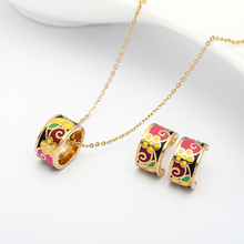 R&X Necklace/earrings African Beads Jewelry Girls sieraden Dubai Fashion Party Romantic Stainless Steel Enamel Bridesmaid Sets