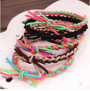 100pcs/lot Fashion HeadweAccessories Wholesale Color Woven Braids Hair Rope Tied High Elastic Rubber Band Personality [expensive] supply truck rather tight rope tensioner tied up with tight rope tied with wholesale