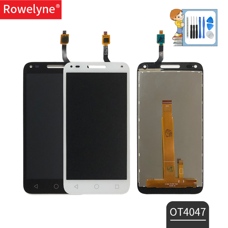 For Alcatel One Touch U5 3G 4047 4047D OT4047 Full LCD Display with Touch Screen Digitizer Black White Color + Tape + Tools-in Mobile Phone LCD Screens from Cellphones & Telecommunications