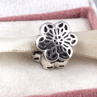 Authentic 925 Sterling Silver Floral Daisy Lace Clip Charm Beads Fits Pandora Bracelet