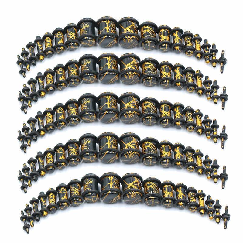 2 pièces acrylique noir or couleurs bouchons d'oreille étirement Kits chair Tunnel Expansion corps Piercing bijoux 14G-00G
