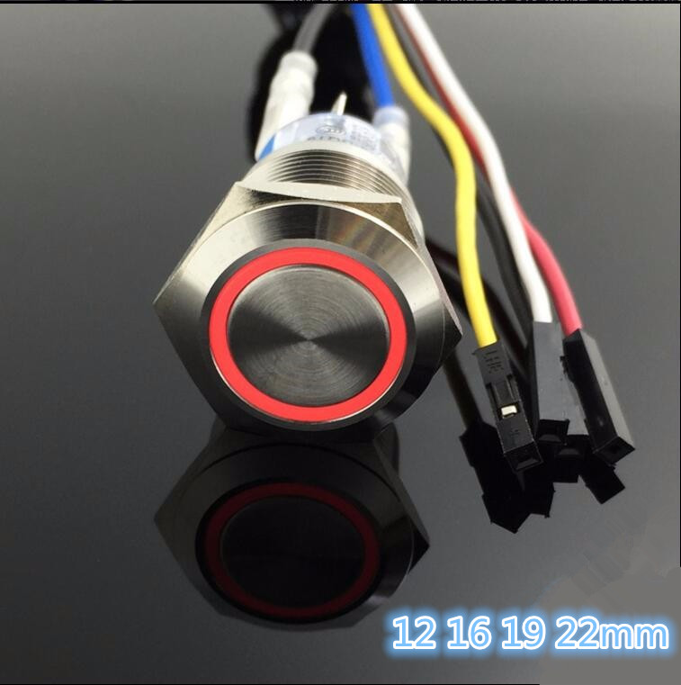 3 set high quality computer Metal LED Power Push Button Switch On-off  5V 12mm 16mm 19mm 22mm Waterproof with 50cm wire harness bqlzr dc12 24v black push button switch with connector wire s ot on off fog led light for toyota old style
