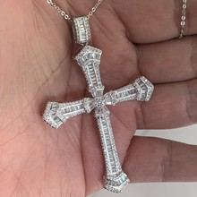 Sparkling Luxury Jewelry 925 Sterling Silver Cross Pendant Party Princess White Clear 5A Cubic Zirconia Women Wedding Necklace