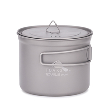 TOAKS  900ml Pot Titanium Pot with cover and handle Outdoor Titanium Camping Cooking Pots Picnic