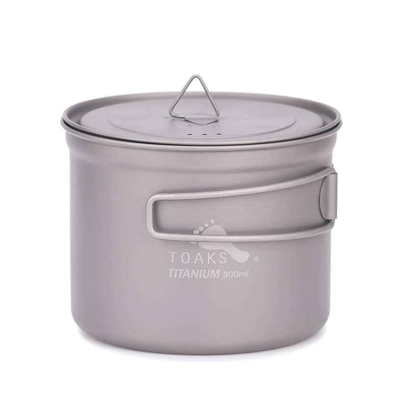 TOAKS Pot en titane ultraléger avec couvercle et poignée en titane extérieur 900 ml Pot Camping casseroles pique-nique POT-900-D115