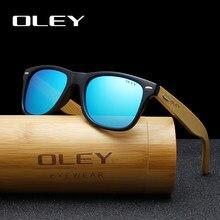 Oley óculos de sol unissex polarizado, óculos de sol clássico quadrado, de bambu, lentes polarizadas, moda retrô, logotipo personalizável yz2140