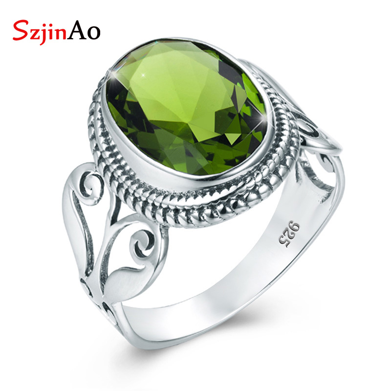 SzjinAo Luxury Solid 925 Sterling Silver Peridot Rings for Women August Birthstone Vintaga Fine jewelry For