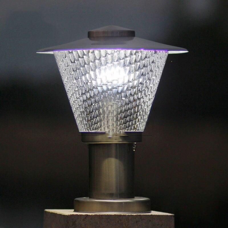 Pilar de aço inoxidável à prova d' água luzes villa varanda paisagem jardim capitel acrílico iluminação da lâmpada poste de luz do lado de fora