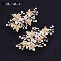2pcs 14K Gold Plating Crystal Pearl Bridal Wedding Hair Clip For Women TS024