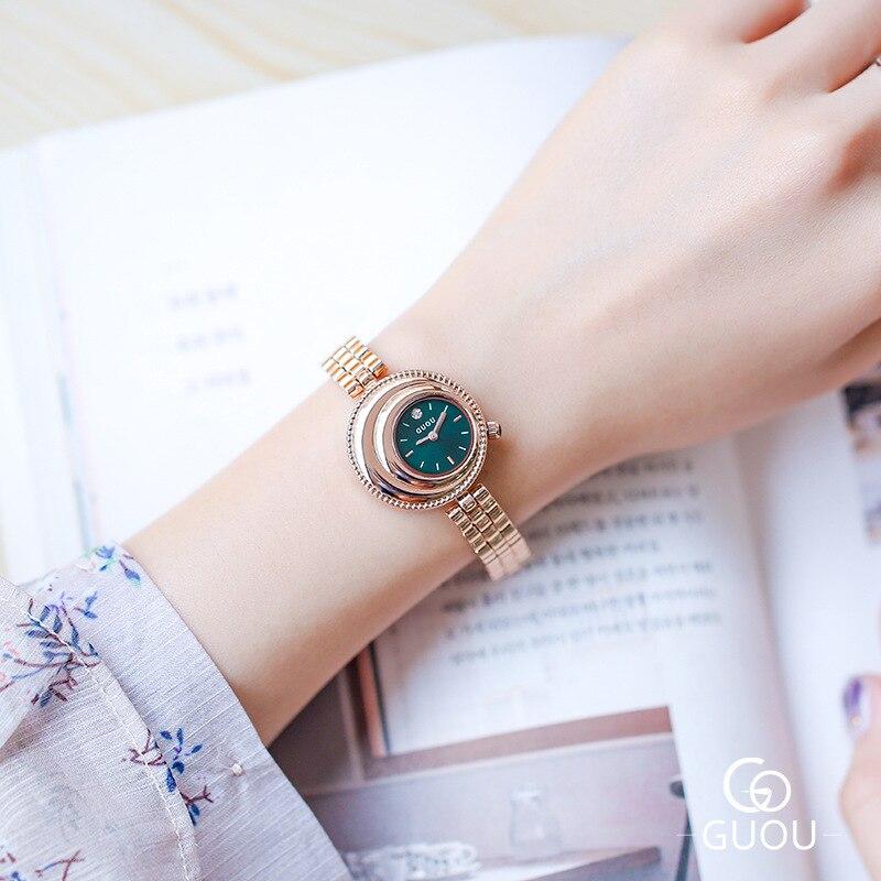 GUOU Women Luxury Brand Lady Crystal Wrist Watches Fashion Woman Quartz Ladies Watches Women Female Wristwatches
