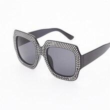 Big Frame Rhinestone Square Sunglasses Women Brand Designer Retro Plastic Frame