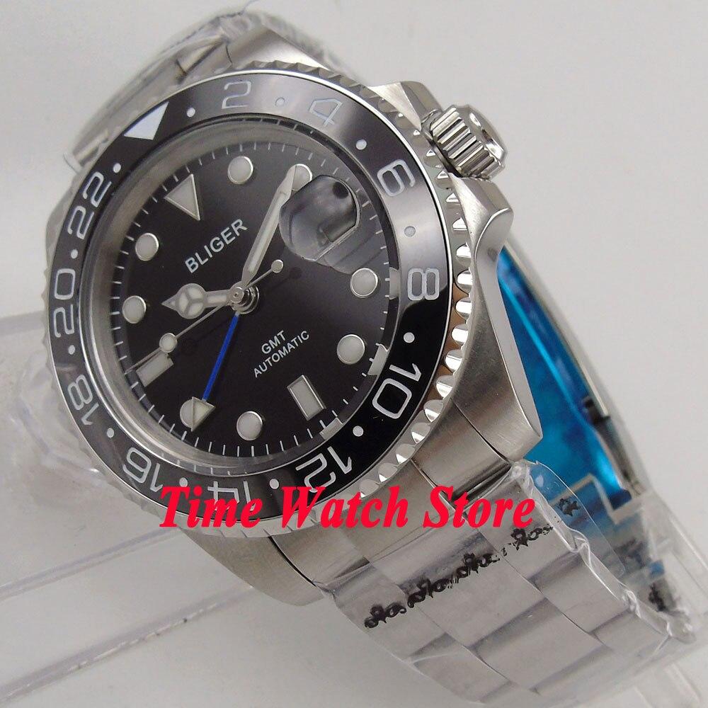 40mm Bliger black dial sapphire glass black ceramic bezel date window GMT Automatic movement Men's watch 175 цена и фото