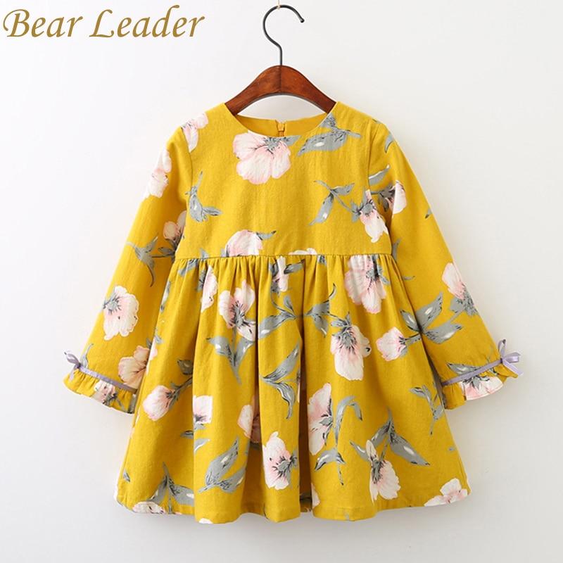 Детское платье для девочки с рисунком медведя 2017 бренд печати платье принцессы осень Стиль с длинным рукавом с цветочным принтом Дизайн для детская одежда
