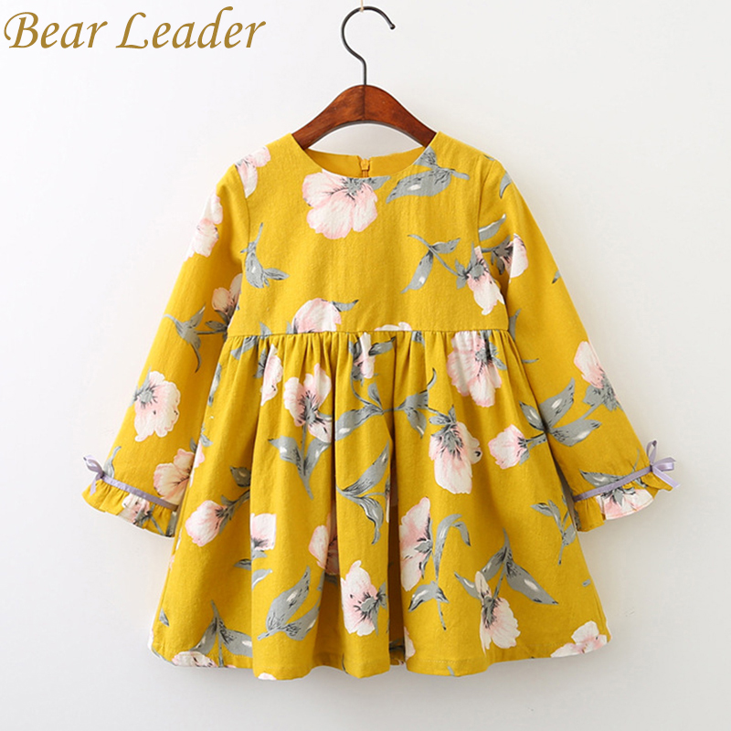 Bear Leader Girls Dress 2017 Brand Printing Princess Dress Autumn Style Long Sleeve Flowers Printing Design for Children Clothes bear leader girls dress 2017 new summer style printing girls clothes sleeveless rose floral design for girls princess dress 3 8y