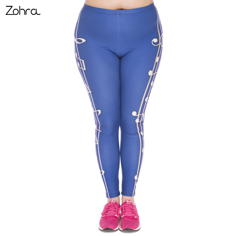 1f53848ae2e Zohra New Large Size Leggings Color Music Printed High Waist Leggins Plus  Size Fashion Trousers Stretch Pants For Plump Women