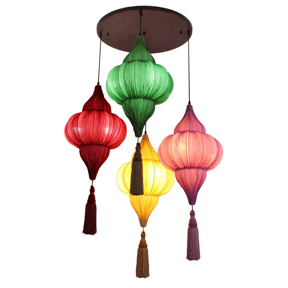 Traditional Dining Room Light Fixtures: Chinese Style Bedroom Fabric Pendant Lights Traditional