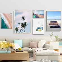Beach Picture Wall Decor Picture Canvas Painting Nordic Car Poster Sea Paintings For Living Room Wall Art Landscape Unframed unframed sea wave and beach pattern canvas paintings