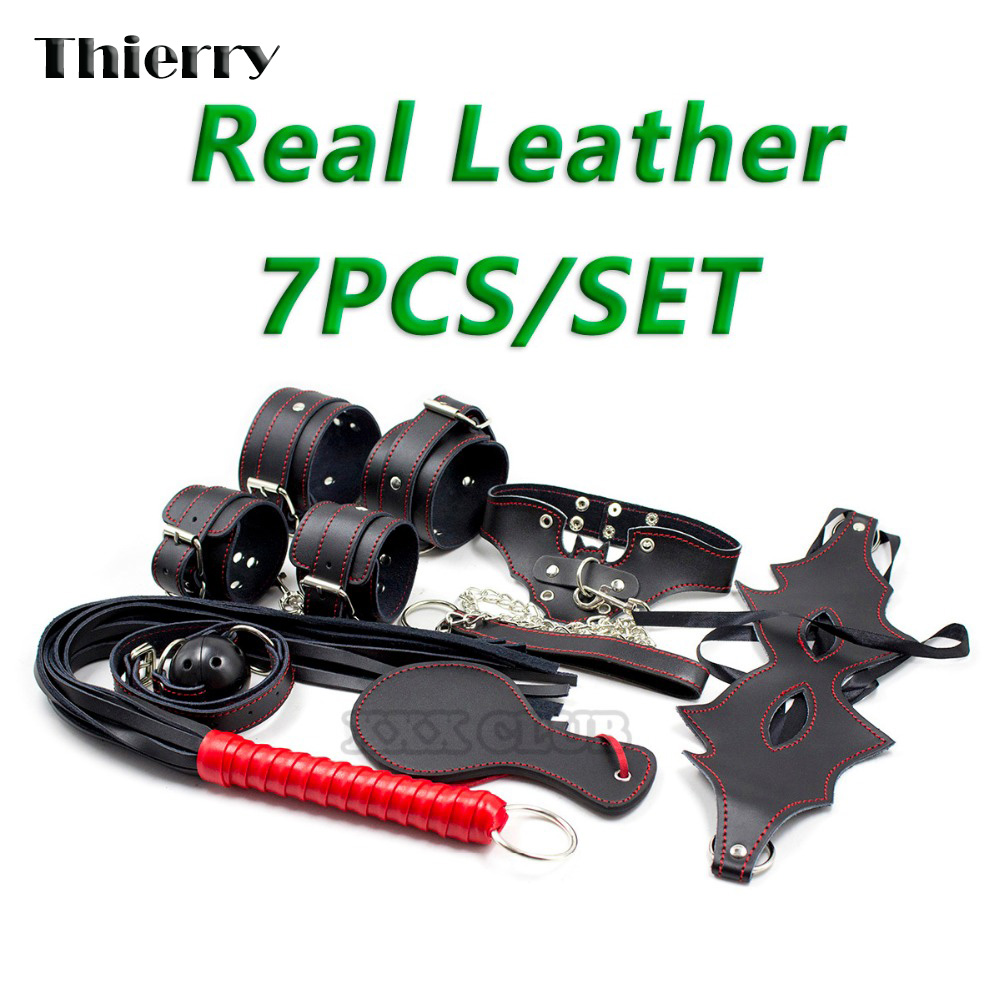 Thierry 7pcs/ Set Leather Sex products Bondage Restraint, Paddle Whip Collar Mask Handcuffs Gag sex Toys for Couples Adult Game недорго, оригинальная цена