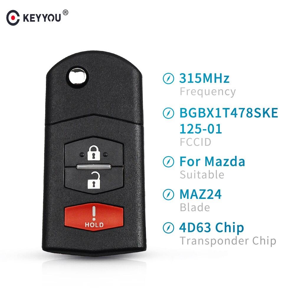KEYYOU 315Mhz Remote Car Key BGBX1T478SKE125-01 Transponder Chip 4D63 For Mazda 2 5 2011-2015 For Mazda CX-7 CX-9 2006-2013