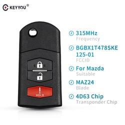KEYYOU 315Mhz zdalny klucz samochodowy BGBX1T478SKE125-01 Chip transpondera 4D63 dla Mazda 2 5 2011-2015 dla Mazda CX-7 CX-9 2006-2013