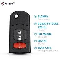 Keyyou 315mhz remoto carro chave BGBX1T478SKE125-01 transponder chip 4d63 para mazda 2 5 2011-2015 para mazda CX-7 CX-9 2006-2013