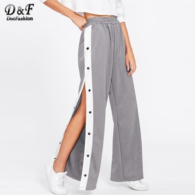 73f00a3985 Dotfashion Tape Button Side Wide Leg Pants Color Block Mid Waist Long  Bottoms 2017 Female Elastic Waist Wide Leg Loose Pants