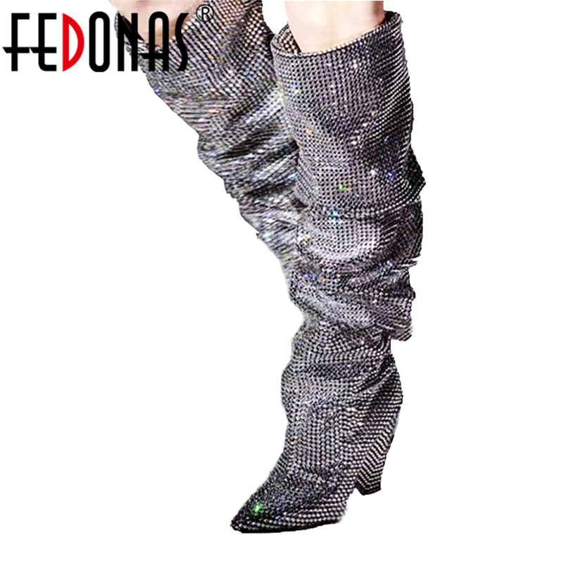 FEDONAS Newest Women Sexy Rhinestone Over The Knee High Boots Wedding Party Shoes Woman High Prom Dancing Shoes Long Warm Boots вакс тэйлор ornette mercury solomun hnqo lukas graham danny daze marcus meinhardt junior dapayk joash марберт росел tj kong pitchben phreek plus one show b rey