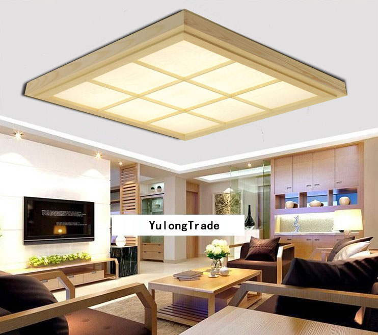 Japanese Style Tatami Wood Ceiling and Pinus Sylvestris Ultrathin LED Lamp Natural Color Square Grid Paper Ceiling Lamp Fixture japanese indoor lighting led ceiling light lamp square 45 55cm tatami decor led lamp wood paper restaurant living room hallway