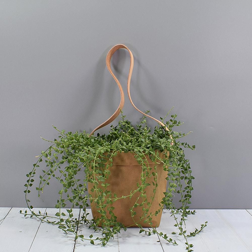 Image 2 - Mini Succulents Planter Pot Washable Kraft Paper Flowerpot Kraft Paper Hanging Flower Pots With Leather Hand Strap Hanging Pot-in Flower Pots & Planters from Home & Garden