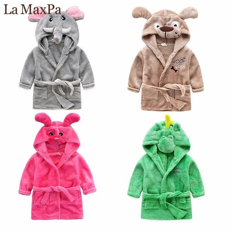 Милый мультфильм для маленьких мальчиков девушки дети пижамы фланелевая Детский банный халат пижамные комплекты Комбинезоны детский банн...